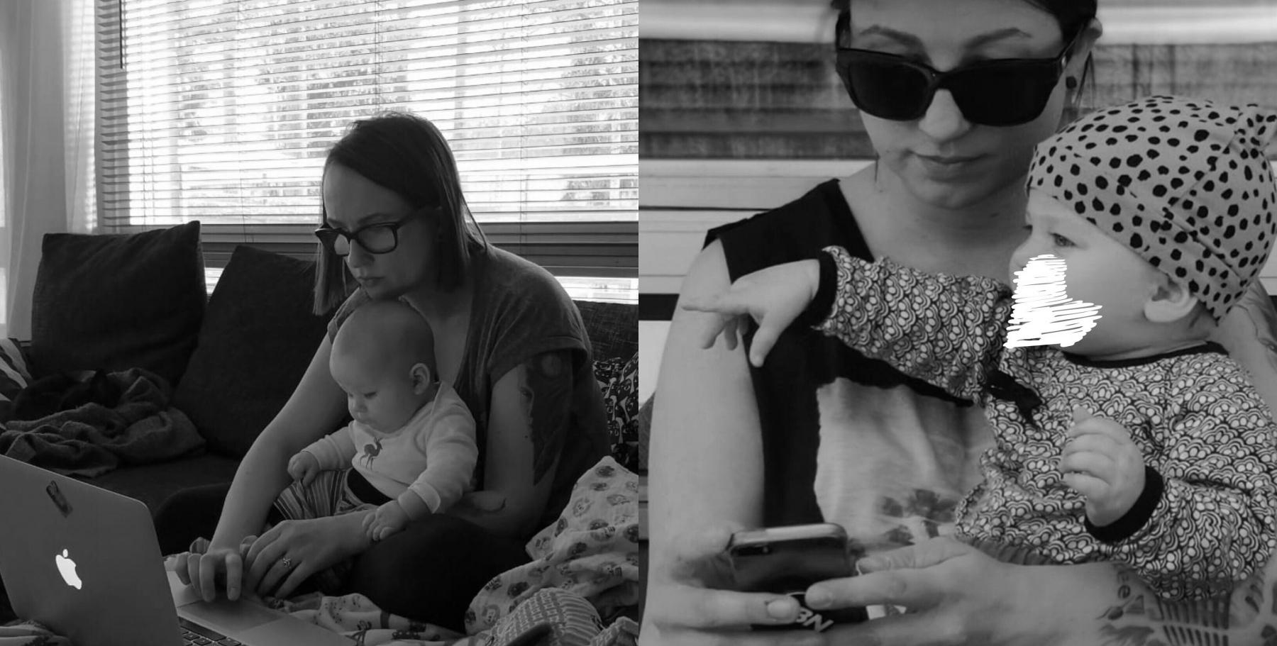 Töissä äitiyslomalla